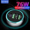 Металлическое быстрое автомобильное зарядное устройство PPS PD QC 3 USB 76 Вт для iPhone 12 Xiaomi Samsung Huawei P40 5A SuperCharge SFCP OnePlus Dash AFC QC3.0