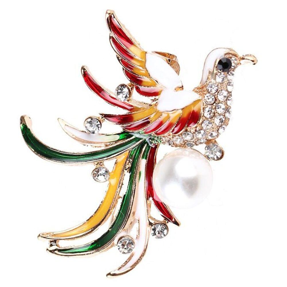 Bijoux costume strass cristal artisanal cadeau oiseau broche