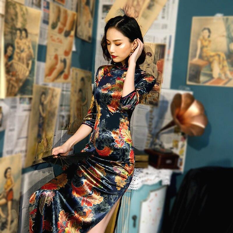 SHENG COCO  Plus Size Women Clothing Velour Cheongsam Navy Blue Traditional Chinese Dress Evening Autumn Long Qipao 5XL 4XL 3XL