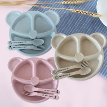 Spoon Fork-Feeding Food-Tableware-Set Wheat-Straw Training-Plate Baby-Bowl Kids Dishes