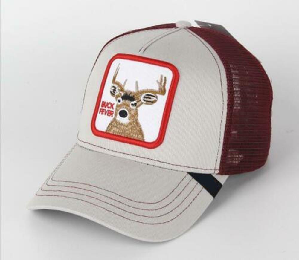 2019 New  Summer Trucker Cap Mesh Snapback Hip Hop Hats For Men Embroidery Baseball Cap Deer-grey