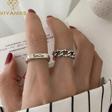 XIYANIKE 925 Sterling Silver Korean Chain Smile Letter Index Finger Ring Female Retro Opening Handmade Gift Jewelry Accessories