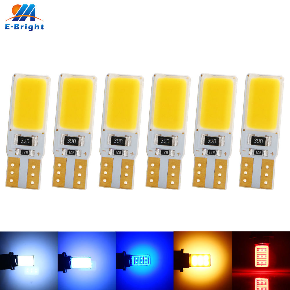 6X Canbus 12V DC T10 COB <font><b>12</b></font> <font><b>SMD</b></font> LED Bulbs 144LM 194 168 W5W Car Reading Side marker Door Lights White Amber Red Green Blue ICE image