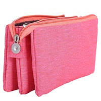 Super Capacity Pencil Case Three Compartment Pencil Holder Pencil Pouch Pen Bag Cosmetic Bag (Rosered)|Pencil Bags|   -