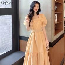 Sukienki damskie letnie duże rozmiary 3XL sukienka Plaid bufiaste rękawy kwadratowy kołnierzyk długie szarfy moda damska Sundress eleganckie Casual nowe