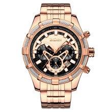 BIDEN Mens Watches Top Brand Quartz Wristwatch Luxury Gold Watch Waterproof Stainless Steel Links Strap Calendar Display 0117 цена