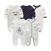 Lote de 5 unidades de ropa Unisex para bebé, monos de 0 a 12M, ropa de recién nacido, mono de manga larga, pijama, 2020