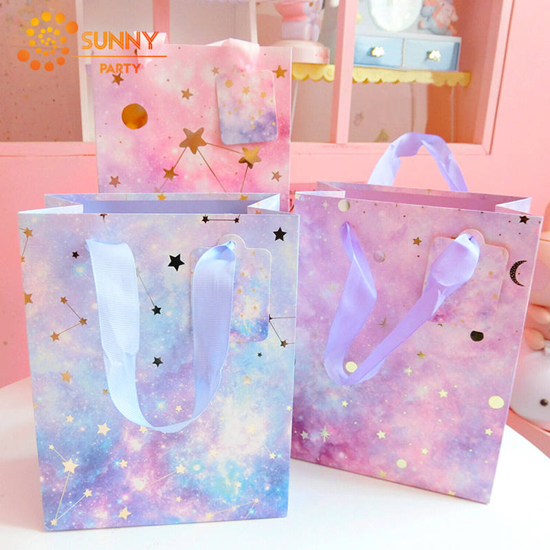 Random Style Dreamy Star Space Packaging Bags Unicorn Paper Package Bag Bow-knot Ribbon Decoration Souvenir Gift Tote Bags