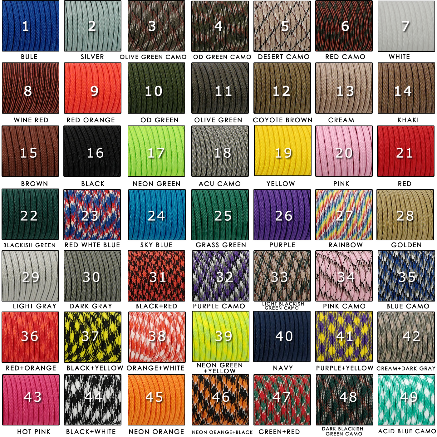 550 Paracord Parachute Cord Guyline Lanyard For Spec Colors 50FT III Hiking 100FT 259 7 Mil Type Rope Strand Tent Camping