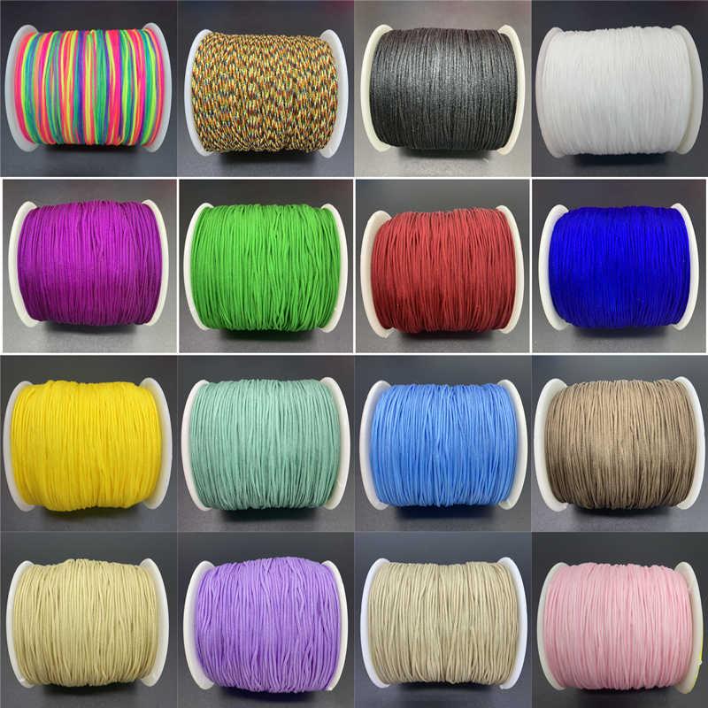 10 หลา/Lot 0.8 มม.ที่มีสีสันไนล่อนเชือกจีน Knot Macrame เชือกสำหรับเครื่องประดับทำ Shamballa สร้อยข้อมือ