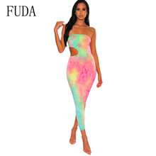 FUDA Casual Print Off Shoulder Strapless Sexy Dress Sleeveless Straight Long Bodycon Hollow Out Summer Party Dresses Women