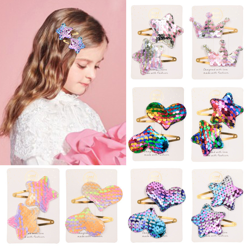 2PCS New Sequin Rainbow Crown Stars BB Clips Kids Hairpins Children Headwear Girls Accessories Baby Headdress Elastic Hair Bands