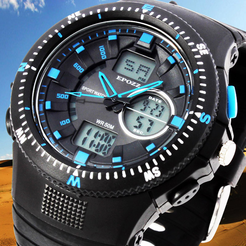Epozz Dual Display Sport Watch Shock Resist Hours Waterproof Male Clock Outdoor Rubber Strap G Style Relogio Masculino EP1308