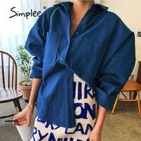 Simplee-camisas de calle para mujer, Camisa lisa con cuello blanco y azul, camisas informales de manga larga Regular para mujer, otoño