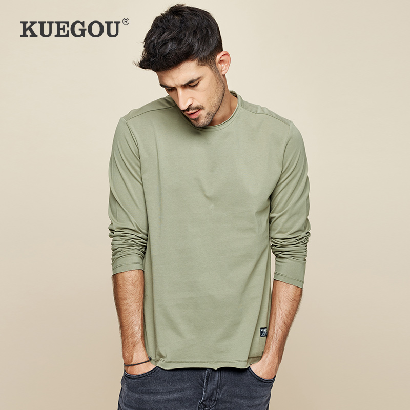 【Kuegou】men's Long Sleeve T-shirt Pure Cotton Contracted Fashion Pure Color Round Collar Render Unlined Upper Garment  ZT-7767