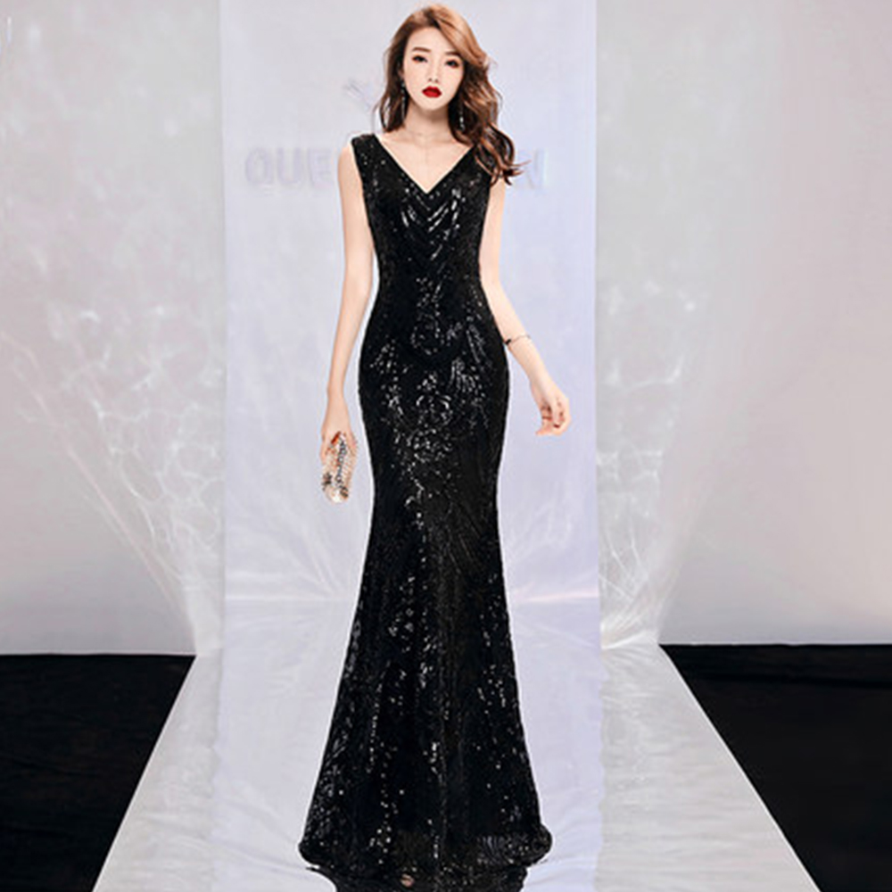 Evening Dress Sleeveless Robe De Soiree Backless Zipper Women Party Dresses 2019 Plus Size Sexy V neck Sequin Formal Gowns F022 in Evening Dresses from Weddings Events