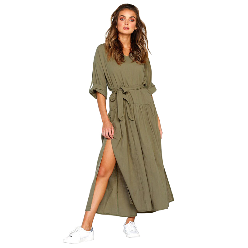 Lady  Fashion Dress Cotton Linen V-Neck Pleated Split Loose Waist Long-Sleeved Round Neck Casual Solid Dresses