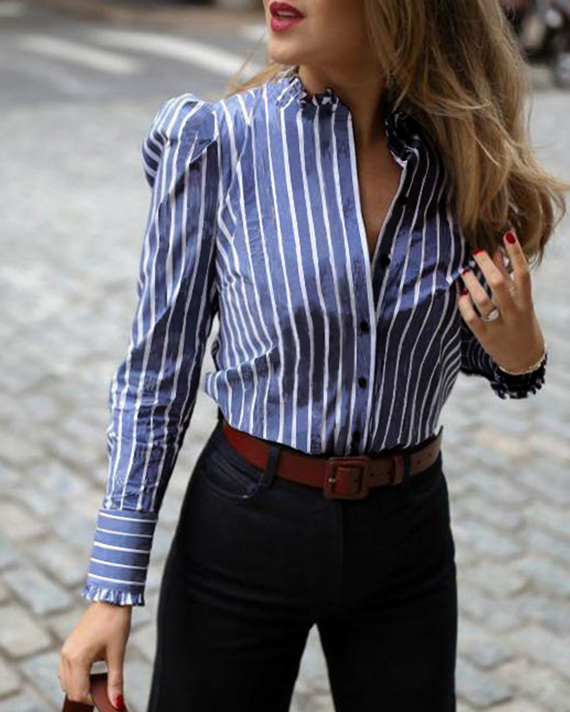 2020 Fashion Elegant Women Brief Long Sleeve Shirt Mock Neck Workwear Top Striped Puffed Sleeve Frill Hem Casual Blouse