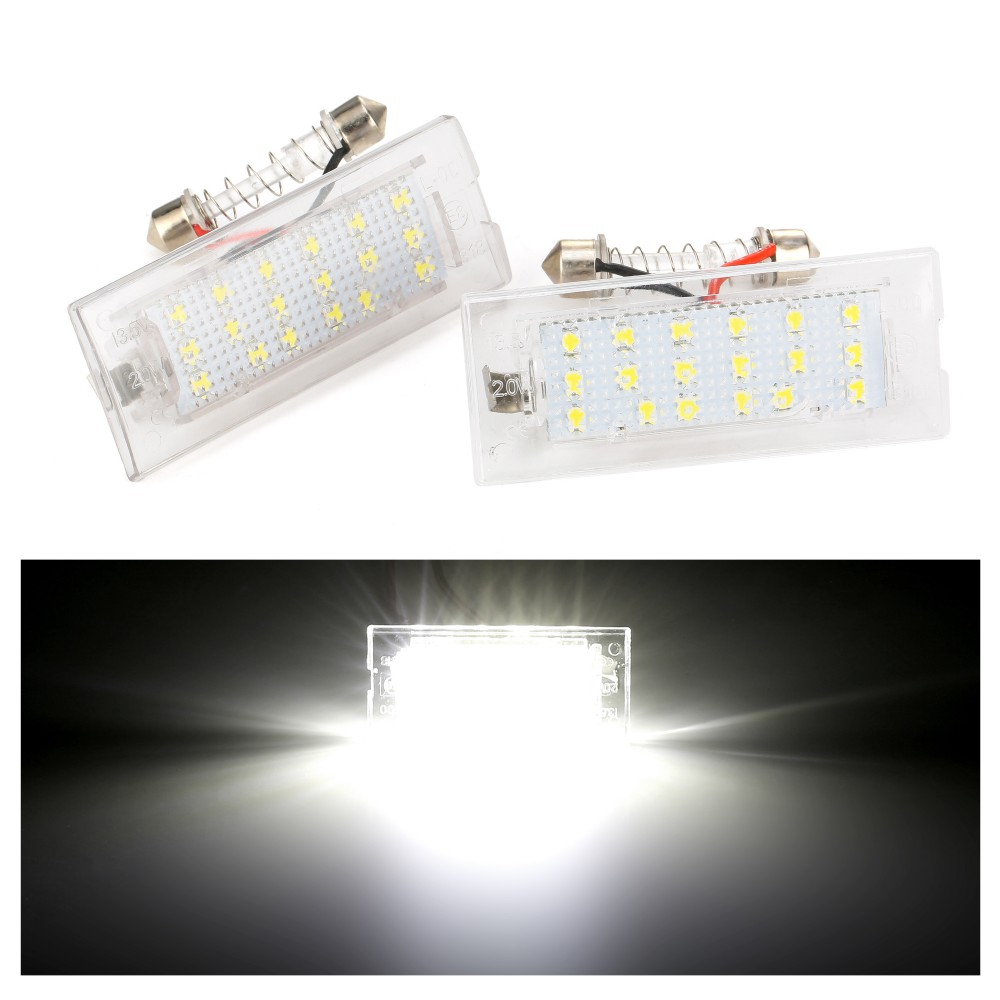 2pcs White CANbus LED Number License Plate Light Lamp <font><b>18</b></font> <font><b>SMD</b></font> 3528 For BMW E53 X5 1999-2003 E83 X3 03-10 Error Free image