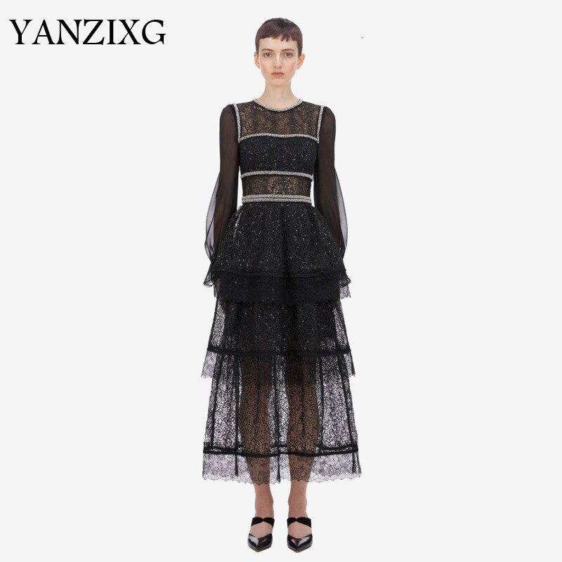 2019 otoño clásico de retazos negro línea de Stock de encaje Manual de perlas de uñas de manga larga de cuello redondo vestido hueco S775