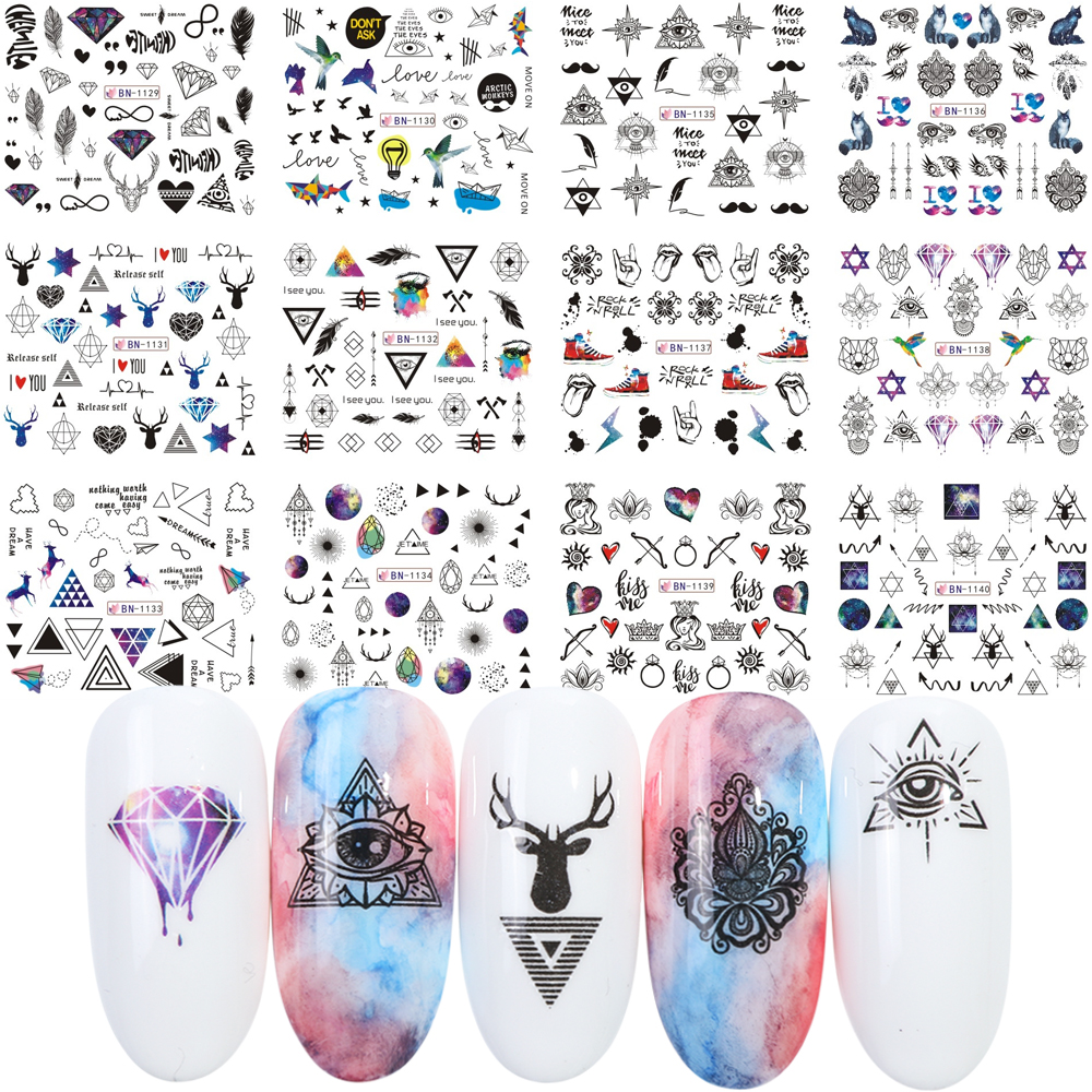 Наклейка для водяного переноса изображения на ноготь, треугольная звезды геометрической формы, перо, Переводные картинки с животными, Слай...