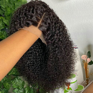 Aircabin 16 Inch Kinky Curly 13x4 Lace Front Bob Wigs Glueless Brazilian Remy Human Hair 4x4 Lace Closure Wigs For Black Women