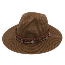 Летняя уличная пластиковая соломенная шляпа с широкими полями