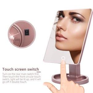 Image 3 - 22 LED 조명 터치 스크린 메이크업 거울 1X 10X 돋보기 화장 대 16 조명 밝은 조정 가능한 USB 또는 배터리 사용