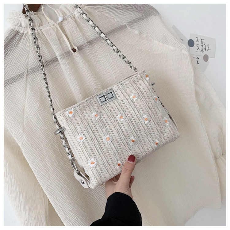 Белая женская сумка, новинка 2021, модная летняя маленькая сумка через плечо, Женская универсальная плетеная Сумка в стиле инстаграма