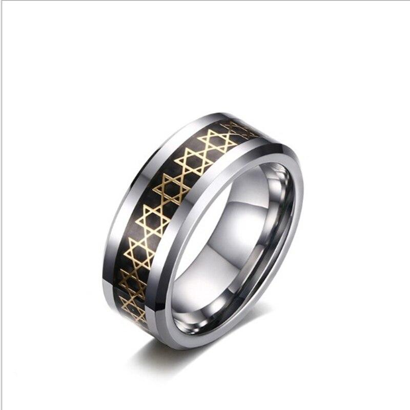 Вольфрамовое шестигранное кольцо на палец металлическая звезда Давида шестиугольные кольца для байкеров ювелирные изделия