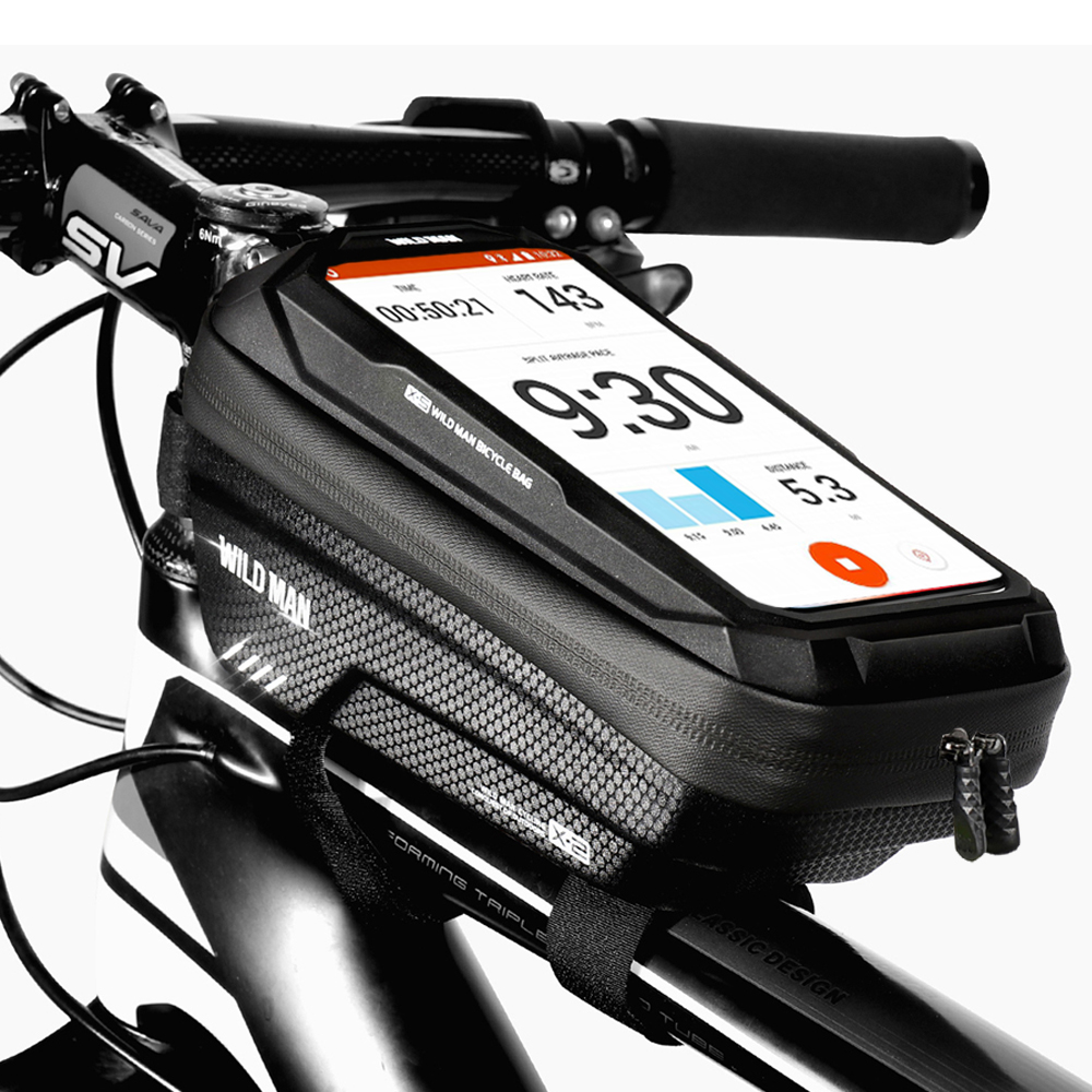 WILD MAN 2021 Bicycle Bag Frame Front Top Tube Cycling Bag Waterproof 6.5in Phone Case Touchscreen Bag MTB Pack Bike Accessories