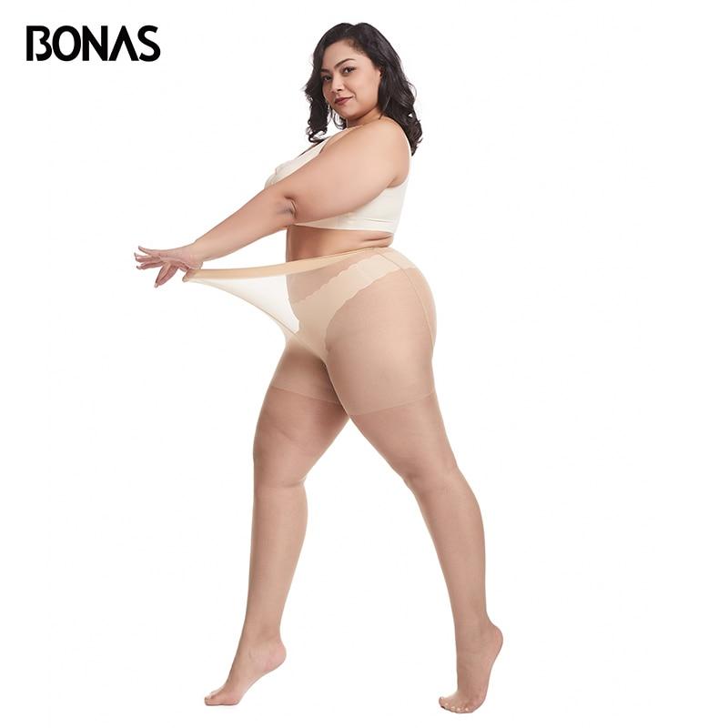 BONAS 15D XXXL Tights Nylon Women's Stockings Plus 100KG Sexy Breathable Elastic Thin Pantyhose Female Collant Spring Hot