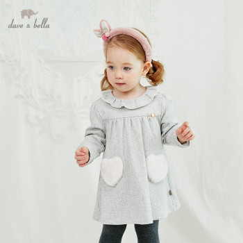 DB14874 dave bella winter baby girl's cute bow pockets zipper dress children fashion party dress kids infant lolita clothes image