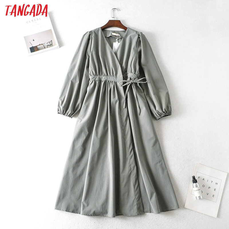 Tangada Fashion Women Solid Elegant A-line Dress 2020 French Style Long Sleeve Ladies Midi Dress With Bow AI12