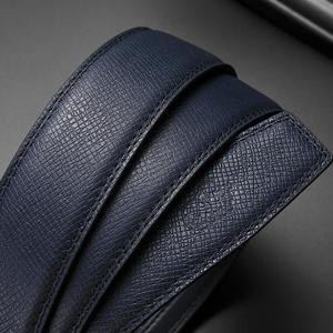 Image 3 - بيسون الدينيم جلد أصلي للرجال حزام سبيكة التلقائي مشبك فاخر الطبقة الأولى جلد البقر والجلود حزام الأزرق حزام للذكور N71511