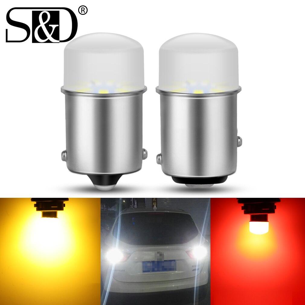 2 шт. P21W/5 Вт 1156 1157 BA15S BAY15D R5W R10W светодиодный Автомобильный светодиодный лампы сигнальная лампа DRL Дневной светильник 12V; Цвета белый, желтый, к...