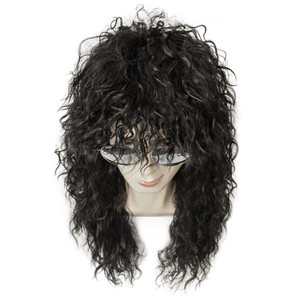 Image 3 - Gres Wig Black Long Curly Wig Male Synthetic Cosplay Wigs Puffy High Temperature Fiber for Men