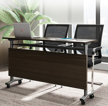 цена на Portable computer table office desk with wheel movable PC laptop table furniture folding study training meeting table 120cm