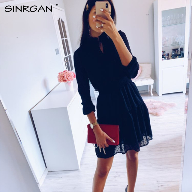 SINRGAN Black lace up hollow out mini dress women vestidos Long sleeve elastic waist party dress 3