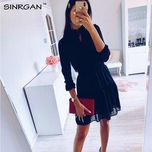 SINRGAN Черные зашнурвка мини-платье женщины vestidos с длинным рукавом упругой талии сексуальные рождественские платья летнее платье летнее платье