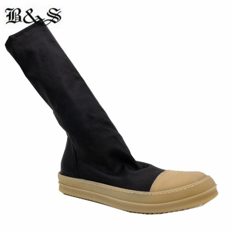 Black & Straat 38cm stretch stof + echt leer platte slip op trainer MID Kalf sok Laarzen nieuwe legergroen kleur hip hop laarzen - 2