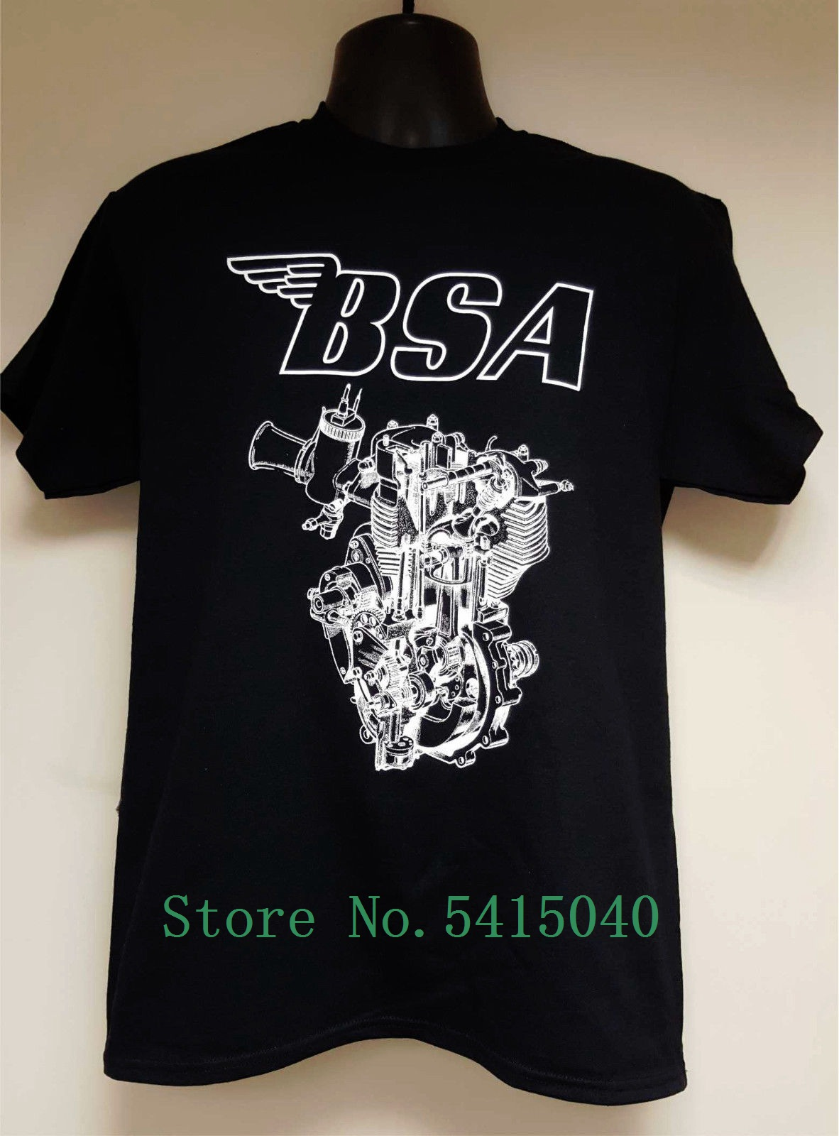 Men's Official Licensed Motorbike T-<font><b>Shirt</b></font> -<font><b>Bsa</b></font> Engine Design Cartoon T <font><b>Shirt</b></font> Men Fashion New Unisex Tshirt Loose Size Top Ajax image