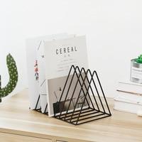 File Storage Shelf Book Stand Desktop Nordic Wrought Iron File Solid Book Holder Office Desk Storage Book Organizer Magazine