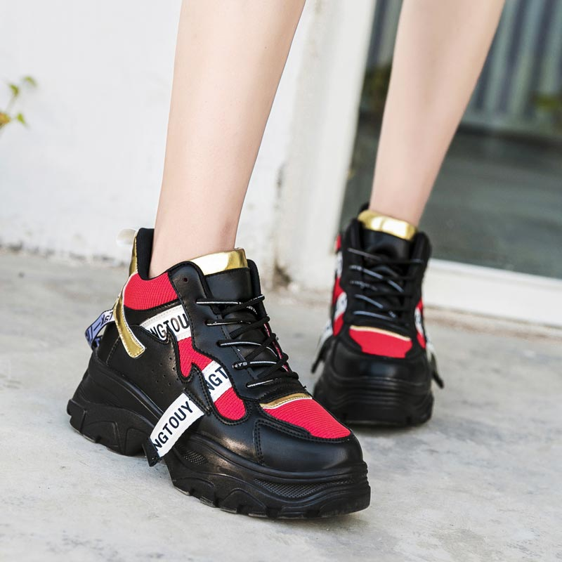 High Sole Women's Sneakers On Platform Women's Running Shoes Sport Woman Shoes Sports Woman Gym Shoes Ladies Chunky Black A-403