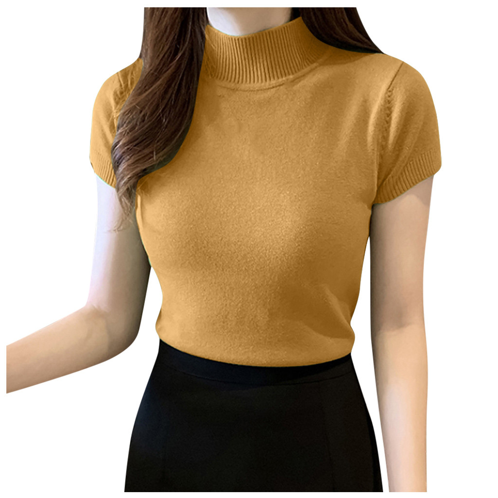 T-shirts Women's Summer Casual Turtle Neck Solid Short Sleeve Tops Ladies Casual Shirt Mujer Camisetas Футболка Женская #30 5