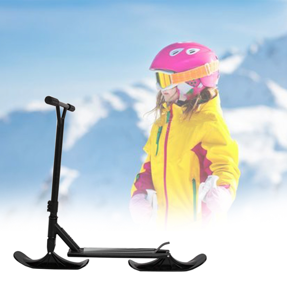 2019 New 2Pcs Children Snow Scooter Ski Kids Skate Board Sled Scooter Winter Cycling Universal Sled Skiing Board Riding Scooter