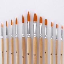 Ensemble de pinceaux pour peinture à l'huile, poils en Nylon, 12 pièces, différentes tailles, pour aquarelle, dessin acrylique, fournitures d'art