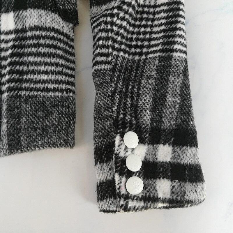 Women Plaid Blazer Asymmetrical Colorblock Velour Wool Office Lady Blazer Coat 2020 Spring Fashion Clothes