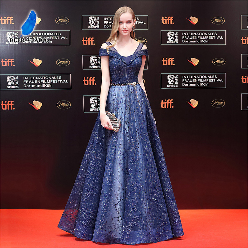 DEERVEADO A Line V Neck Lace Up Open Back Evening Dress Long Ball Gown Formal Dress Prom Party Dresses Vestido De Festa M252