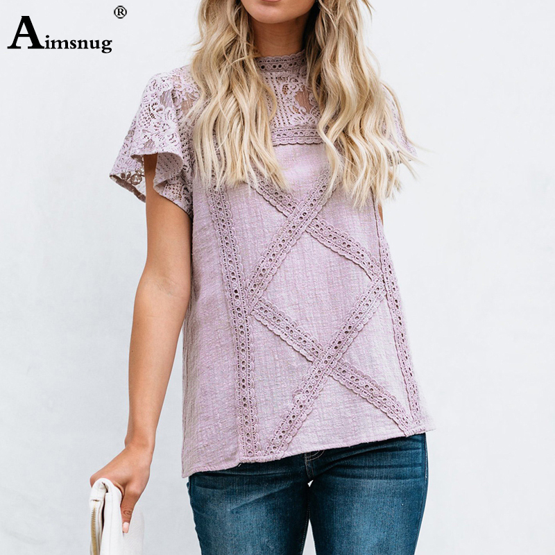 Hd6d41995ce5042e69364882279ad99c3n - Aimsnug Women White Elegant T-shirt Lace Patchwork Female O-neck Hollow Out Shirt Summer New Solid Casual Women's Tops